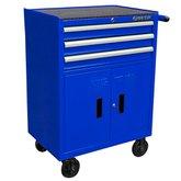 Carrinho Metálico Azul com 3 Gavetas, 2 Portas e Puxador - KINGTONY-87438-3B-B