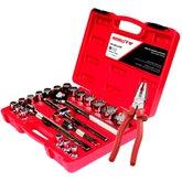 Kit com Jogo de Soquetes Estriados D2622AM Robust 22 Peças e  Alicate 8 Pol. Universal  - ROBUST-K226