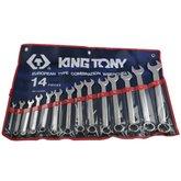 Jogo de Chaves Combinadas de 5/16 a 1.1/4 Pol. com 14 Peças - KING TONY-1214SR