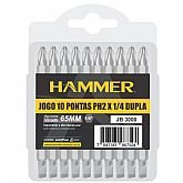 Jogo de 10 Pontas Duplas PH2 65mm com Encaixe de 1/4 Pol. - HAMMER-GYJB-3000