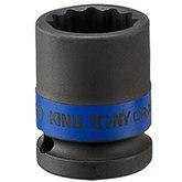 Soquete de Impacto Estriado de 27mm com Encaixe de 1/2 Pol.  - KINGTONY-453027M