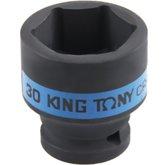 Soquete de Impacto Sextavado Curto 30 mm e Encaixe de 1/2 Pol.  - KINGTONY-453530M