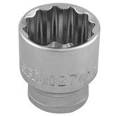 Soquete Estriado 1/2 Polegada de 27mm Cromado - SATA-ST13616SC