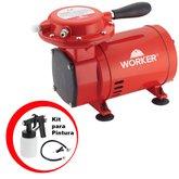 Compressor de Ar Direto 50PSI Bivolt com Kit para Pintura - WORKER-371629KIT