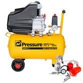 Kit Motocompressor de Ar Pressure WP8225L 8,2/24L  + Jogo de Acessórios para Motocompressor Motomil 5 Peças - PRESSURE-K41