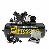 Kit Compressor de Ar Trifásico Pressure ON-10/175BRT-N + Parafusadeira de Impacto FortG Pro FG3300 13 Pçs + Catraca Pneumática Waft 16 Pçs - PRESSURE-K103
