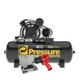Kit Compressor de Ar Pressure ONIX-20/200 20 Pés 200L Trifásico + Chave de Impacto Chicago CP7736 1/2 Pol. 900Nm + Catraca Pneumática Waft Reversível 16 Peças - PRESSURE-K110