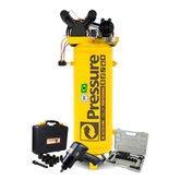Kit Compressor Vertical Pressure SE15/175-VM 15 Pés 175L + Chave Parafusadeira de Impacto FortG Pro FG3300.13 13 Peças + Catraca Waft Reversível 16 Peças - PRESSURE-K105