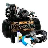 Kit Compressor Bravo Schulz MonoCSL10BR 10 Pés 100L + Chave de Impacto + 2 Mangueiras + Amortecedor + 2 Engates  - SCHULZ-K252
