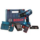 Kit Parafusadeira/Furadeira de Impacto 1/2 Pol. Bosch GSB180LIAC + Trena Laser Digital - BOSCH-K208