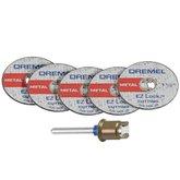 Kit com 5 Discos de Corte para Metal de 1.1/2 Pol. e Mandril  - DREMEL-2615E406AD-000