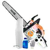 Kit Motosserra à Gasolina FortG Pro FG9140 + Óculos de Proteção Carbogr + Luva Tricotada Omega OMG0003 + Avental Branco Vonder + Lubrificante para Motores Husqvarna - FORTGPRO-K129