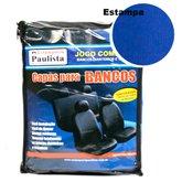 Jogo de Capa para Banco em Tecido Azul e Preto - ESTAMPARIA PAULISTA-CAP-TA