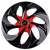 Calota Esportiva Aro 14 Evolution Cubo Alto 4 x 100/ 4 x 108 - Black / Red - 01 Unidade - ELITE-4204