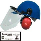 Capacete Evolution Azul com Protetor Facial e Abafador CG 108 - CARBOGRAFITE-010430810
