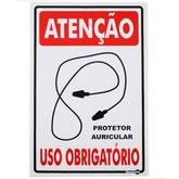 Placa Sinalizadora Atenção Uso Obrigatório Protetor Auricular  - ENCARTALE-PS240