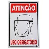 Placa Sinalizadora de Atenção Uso Obrigatório Protetor Facial - ENCARTALE-PS-221