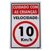 Placa Sinalizadora de Cuidado com as Crianças 10 km/h - 20 x 30 cm - ENCARTALE-PS-231