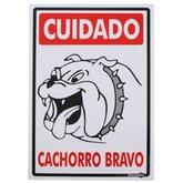Placa Sinalizadora Cuidado Cachorro Bravo  - ENCARTALE-PS22