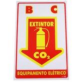 Placa Sinalizadora Extintor C.O.2 Equipamento Elétrico - ENCARTALE-PS119