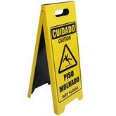 Placa Sinalizadora Dobrável / Cavalete de Cuidado Piso Molhado Bilíngue - ENCARTALE-PD-607