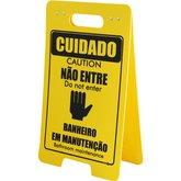 Placa Sinalizadora Cavalete de Cuidado Não Entre Banheiro em Manutenção Bilíngue - ENCARTALE-PD-505