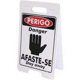 Placa Sinalizadora Dobrável / Cavalete de Perigo Afaste-se Bilíngue - ENCARTALE-PD-256