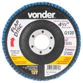 Disco de Desbaste/Acabamento Flap Disc Cônico 4.1/2 Pol. Grão 120 Costado de Fibra - VONDER-1224412121