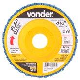 Disco de Desbaste/Acabamento Flap Disc Reto 4.1/2 Pol. Grão 40 - VONDER-1224412040