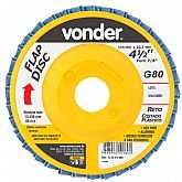Disco de Desbaste/Acabamento Flap Disc Reto 4.1/2 Pol. Grão 80 - VONDER-1224412080