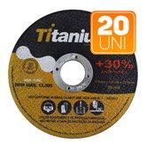 Kit 20 Discos de Corte Fino 4.1/2 x 3/64 x 7/8 Pol.  - TITANIUM-K59