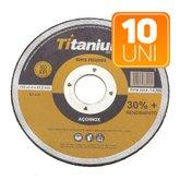 Kit 10 Discos de Corte Fino 4.1/2 Pol. Super Premium - TITANIUM-K64