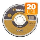 Kit com 20 Discos de Corte Fino 4.1/2 Pol. Super Premium - TITANIUM-K65