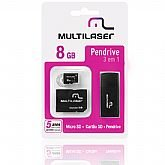 Kit 3 em 1 - Micro SD + Cartão SD + Pen Drive - 8 GB - MULTILASER-MC058