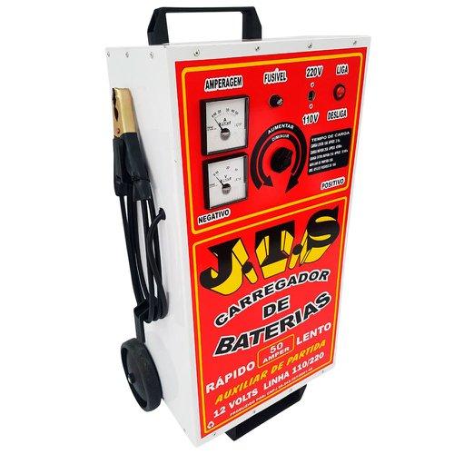 carregador de baterias 50a 12v bivolt com auxiliar de partida