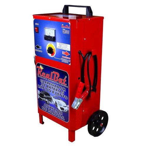 carregador de baterias rápido e lento + auxilar de partida com carrinho 12v 50a