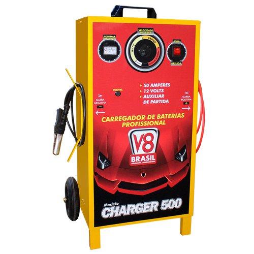 carregador de bateria profissional 50a bivolt com auxiliar de partida charger 500