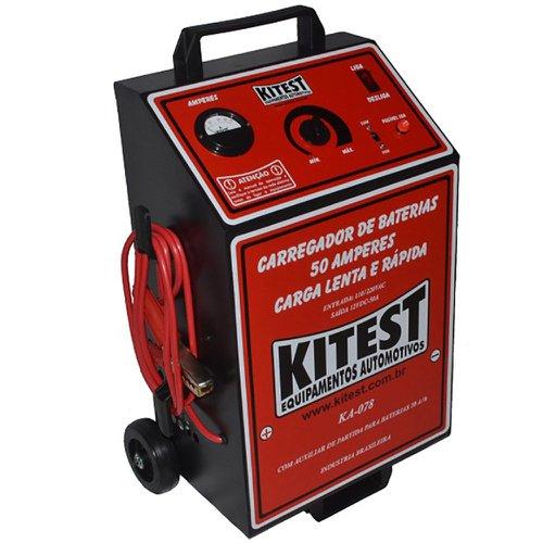 carregador de bateria analógico lento e rápido 50a com auxliar de partida