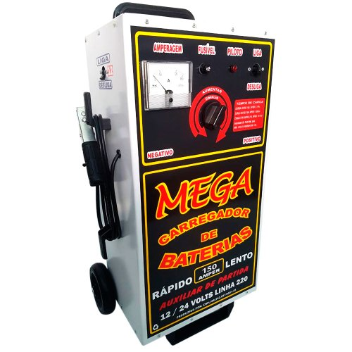 carregador de baterias 12/24v 150a 220v com auxiliar de partida