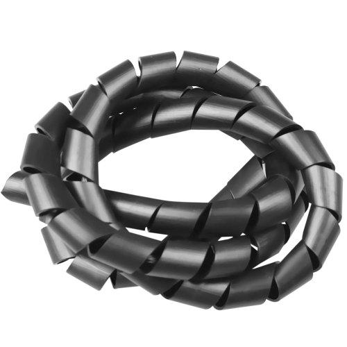 tubo espiral preto - organizador de fios de 1 metro com diâmetro de 3/4 pol.