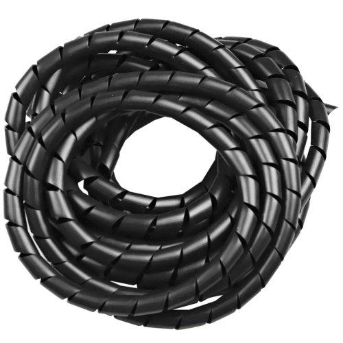 tubo espiral preto - organizador de fios de 5 metros com diâmetro de 1/2 pol.