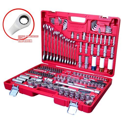 jogo de ferramentas oficina master 178 peças com chaves combinadas com catraca