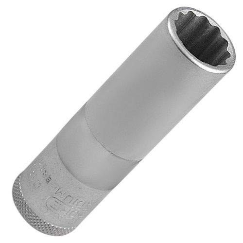 soquete estriado longo 16 mm com encaixe de 1/2 pol.