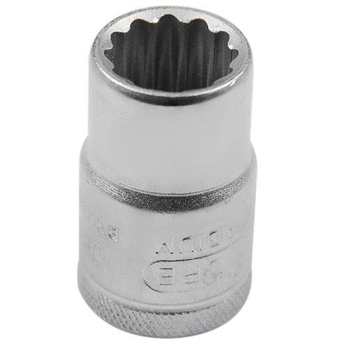 soquete estriado curto 14mm  com encaixe de 1/2 pol.