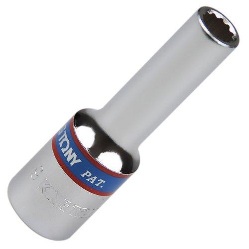 soquete estriado longo 9 mm com encaixe de 1/2 pol.