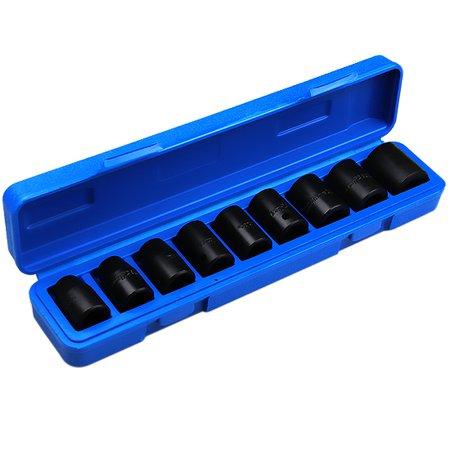 jogo soquetes de impacto com encaixe 1/2 pol com 9 peças