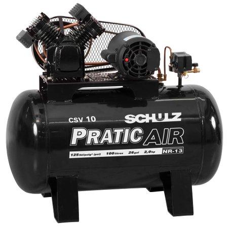 compressor de ar 10 pés 100 litros 110/220v - pratic air