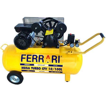Compressor de Ar Elétrico Mega Turbo 3 Cv Ferrari Ferramentas Cfv10/100l Bivolt