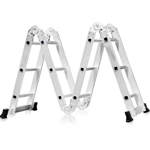 escada multifuncional 4x3 em alumínio com 12 degraus