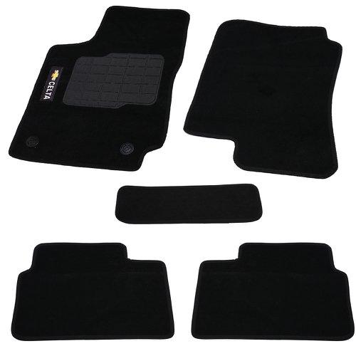 jogo de tapetes carpete celta universal preto com 5 peças